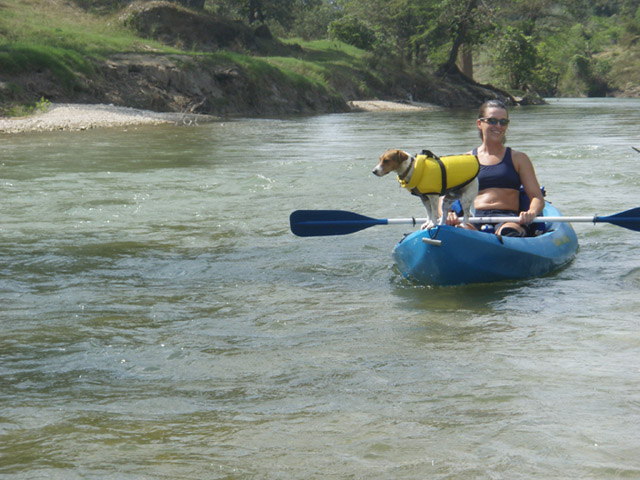 Kayaking with dog on the river in Boerne