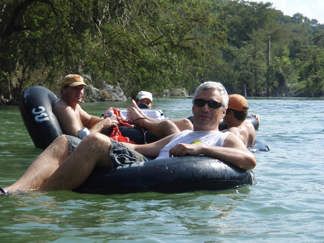 Relaxing in tubes on the river in Boerne, Texas